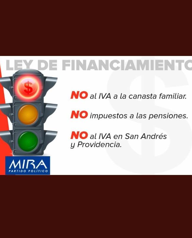 Qué hizo el Partido MIRA en la Ley de Financiamiento: Dijo NO al IVA